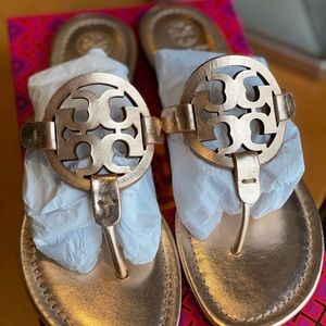 New Tory Burch rose gold miller sandals size 8